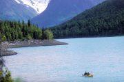 kayaking on Eklutna Lake